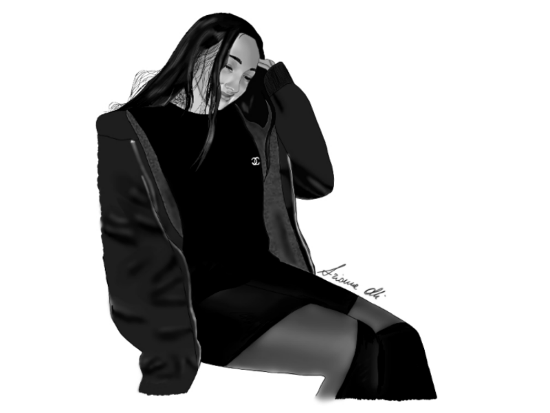Digital Portrait - Sitting Girl digital portrait girl commission