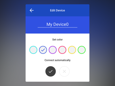 Simple Material Device Edit edit connect color name device material design modal popup simple