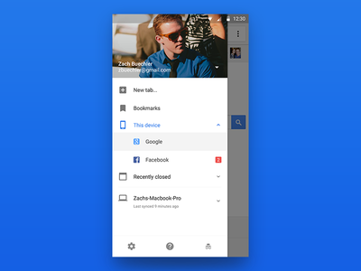 Chrome Side Menu browser incognito new tab menu material design android chrome