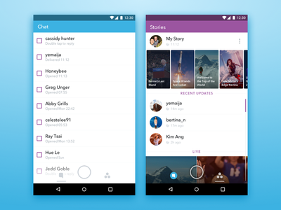 New Snapchat UI + Freebie stories chat discover conversation list sketch freebie ui android snapchat
