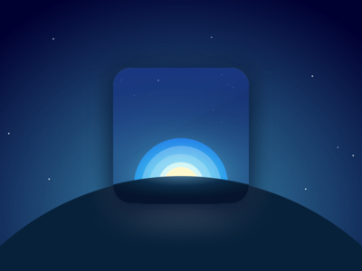 Sunday night doodles planet dark sky stars sun ios app icon