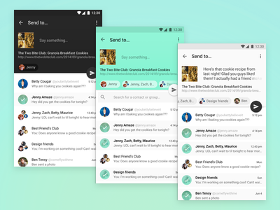 Sharing in your choice of flavors send app ui android material design share
