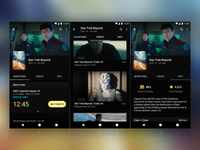 Movie App Details Page android material design ratings trailers showtime movie