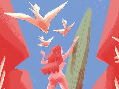 Summertime but it's Cretaceous girls dinosaurs conceptual concept art illustration editorial illustration