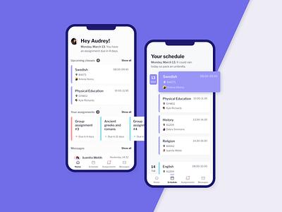 Student mobile app figma product design ux app schedule school education mobile