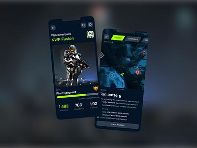 Halo Infinite: Companion app 343 microsoft mobile app design xbox esport gaming dark app dark ui infinite halo