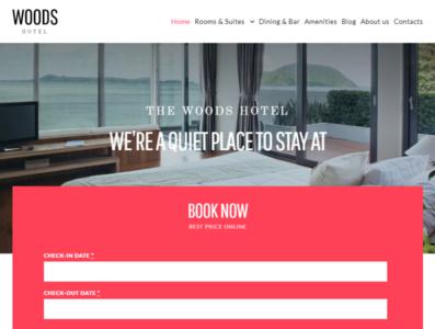 Woods Hotel - Hotel & Resort WordPress Theme booking website blog design elementor wordpress themes wordpress design elementor templates wordpress theme