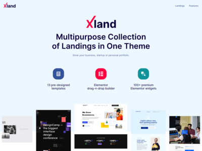 XLand - Multipurpose Collection of Landing Pages WordPress Theme landing page ui wordpress design design business website template wordpress themes elementor templates elementor wordpress theme