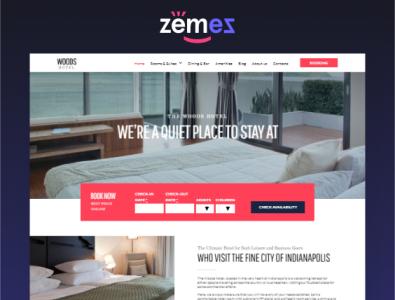 Meet our WordPress theme - Woods Hotel link design travel elementor logo template website hotel theme wordpress