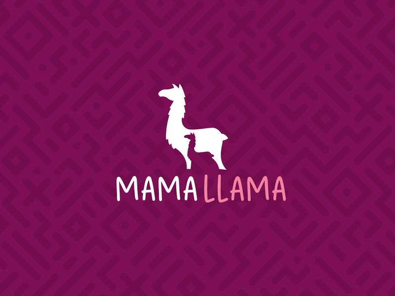 Mama Llama Logo mother branding logo design llama