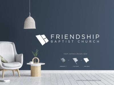 Friendship Baptist Church Logo cross vector faith illustration minimal logo brand church branding church logo church