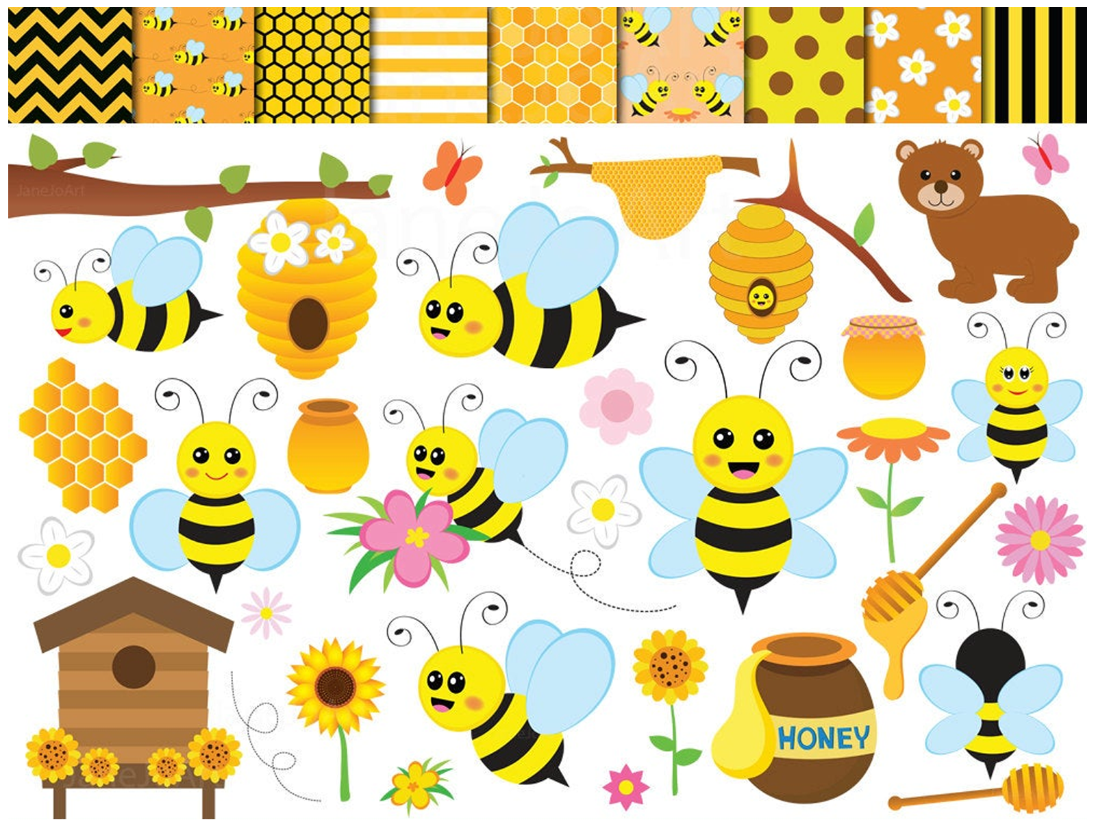 Honey Bee With Jar Clipart - Honey Bee Clipart, HD Png Download - vhv