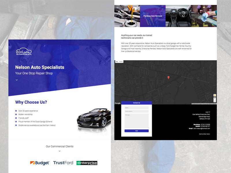 Nelson Auto Specialists onepage repairs auto mechanic car dev web site developer development design website