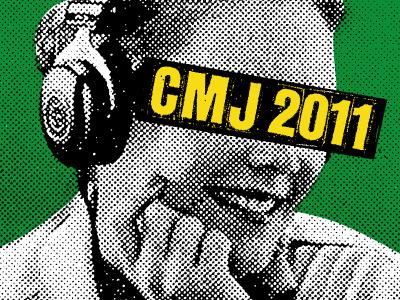 CMJ Awards Poster screen print print mafia ink paper paint found image lady headphones halftone cmj awards photo green yellow black festival