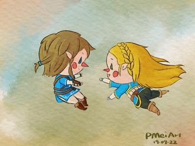 BOTW Zelda and Link in Awakening's Style