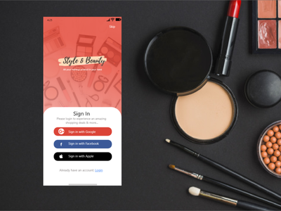 Mobile app for Cosmetic Product design ui
