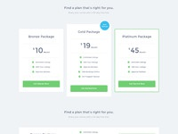 Pricing table options