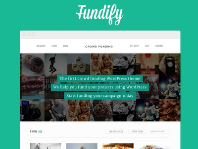 Fundify - Crowd Funding WordPress Theme clean crowd funding crowd sourcing crowdfunding easy digital downloads ecommerce funding hero slider modern responsive submissions textures wordpress