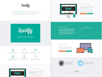 Landing Page For Fundify - Crowd Funding Theme wordpress responsive ecommerce clean textures crowd funding sourcing crowdfunding hero slider modern submissions