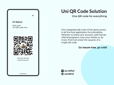 Uni QR Code - One code solution for everything verification qr code code strategy app minimal responsive branding uidesign ui ux