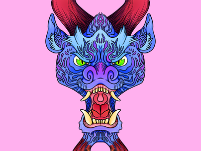 01 jet lag 90s neon dragon illustration symmetry monster jet lag ipadpro procreate