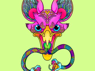 02 self portrait illustration animal weird lisa frank lisa freak neon 90s bat snake eagle procreate