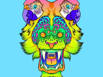 03 margaritaville cheetah print lisa freak lisa frank 90s neon jimmy buffett margaritaville parrot lion ipadpro procreate