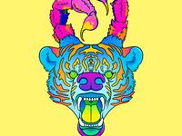 05 respectful dialogue weird animal stripes tiger print neon 90s lisa freak lisa frank scorpion bear ipadpro procreate