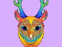 06 forest hang lisa freak lisa frank eyes orange leopard forest spirit fantasy 90s neon deer antlers owl barn owl ipadpro procreate