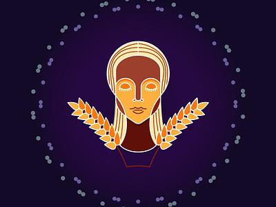 Virgo graphicdesign graphics wheat girl women zodiacsigns zodiacsign zodiac virgo illustration design design art icondesign badge illustration designdaily adobe illustrator