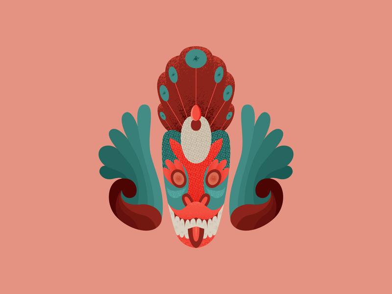 Srilankan Peocock Mask texture srilankan face mask geometric ancient design graphic 2d art 2d flat illustration flat vector designdaily illustration adobe illustrator