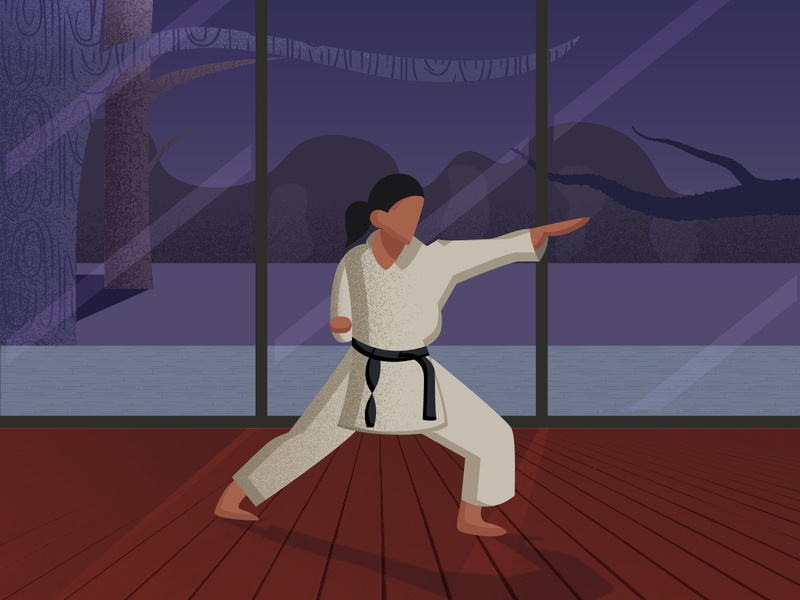 Karate Girl texture light and shadow costume window trees night scene night girl karate kid karate 2d art 2d flat illustration flat humanillustration vector illustration design illustration designdaily adobe illustrator