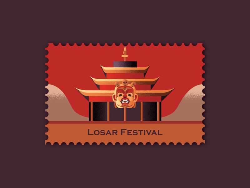 Losar Festival bhutan mask monastry postage stamp stamps stamp ladakh indian festival losar festival texture design 2d art 2d flat illustration flat vector design art adobe illustrator illustration