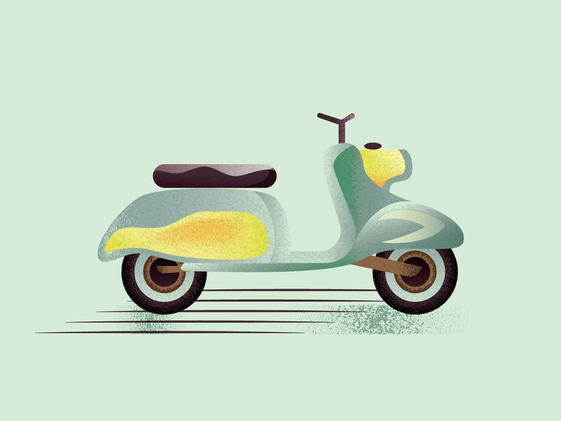 Vintage Scooter textured textures vintage scooter vehicle texture 2d art 2d flat illustration flat design design art vector adobe illustrator illustration