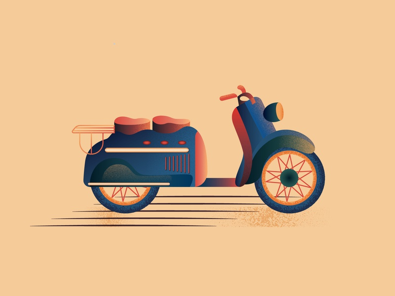 Manhurin Scooter simple manhurin gradient vehicle scooters scooter geometric graphic texture 2d art 2d designdaily illustration design vector flat illustration