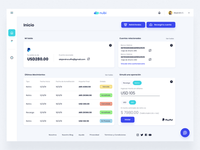 Nubi - User Dashboard web app money bank indicius platform dashboard illustration design ui ux argentina fintech paypal nubi