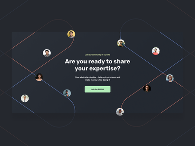 Embark.live - Join our Community rubik minimal profile entrepreneurship entrepreneur customer advice expert theme dark landing modern icons waitlist design landing page