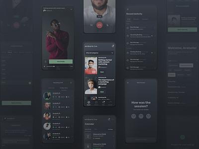 Embark.live - App Screens onboarding rate rating videoplayer entrepreneur advice profile experts search videos video ux ui theme dark mockup screens app