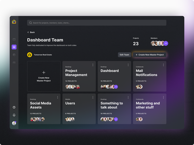 Task and Project Management Tool gradient glow teams assign project dark mode dashboard management manager task