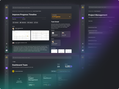 Task and Project Management Tool glow gradient inter comment activity feed attachments assign dark mode detail timeline manager management project task