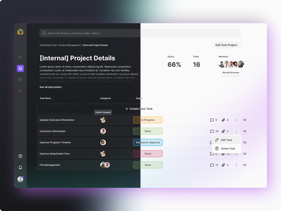 Task and Project Management Tool glow gradient list rows status inter dark mode light mode manager management project task dashboard