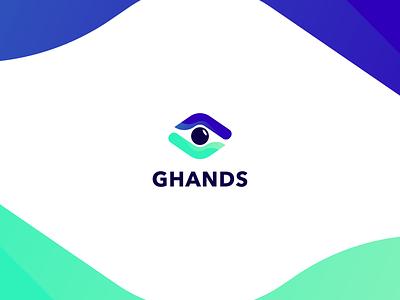 Ghands manos ojo green blue gradient hands eye logo branding brand ghands