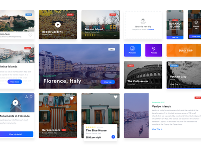 Free UI Cards gradient icon europe trip travel attachment file sketch free design cards ui