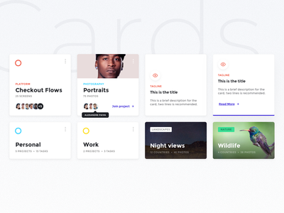 Cards invision studio freebie ui kit ui montserrat tags cards design unsplash sketch invision cards