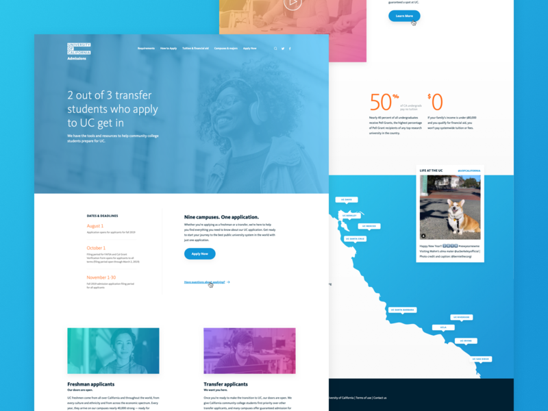 Home Page ui ux design landing page home page admissins california university uc
