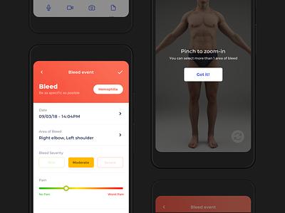 Medical App flat design ux ui montserrat mockup pain body hemophilia bleed medical care app medical