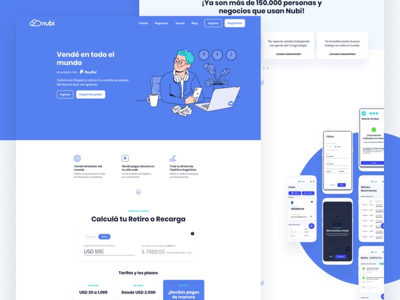 Nubi Marketing Website responsive mobile hero visual design motion ui illustration ux ui design marketing website money paypal fintech nubi
