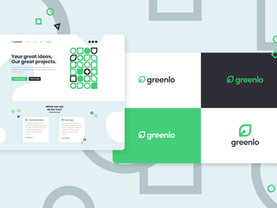 Greenlo Website and Logo Design colorful typography design branding vector affinity designer advertising green logo logo design modern shape simple black green