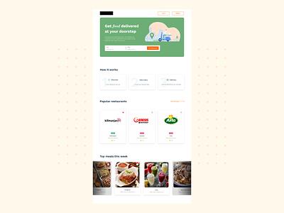 Food delivery Homepage web ux dailyui uiuxdesigner uiuxdesign design ui