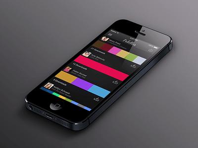 Palettes color iphone app black